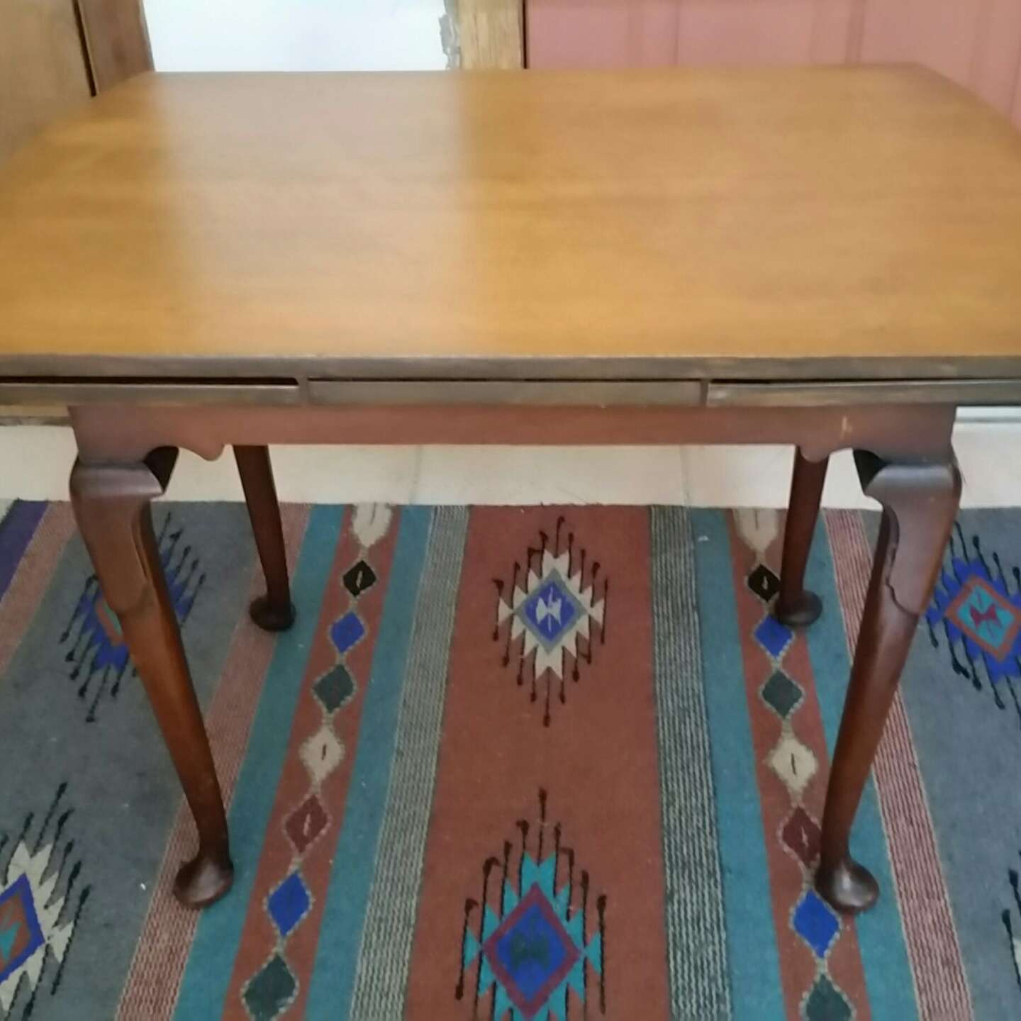 Photo GORGEOUS VINTAGE DROP LEAF TABLE. OLD WOODEN MECHANISM. PIECE OF HISTORY. PICK UP MIDDLEBORO ONLY. SERIOUS INQUIRIES ONLY. 46 OPEN 23H 30W CLOSED 18D.