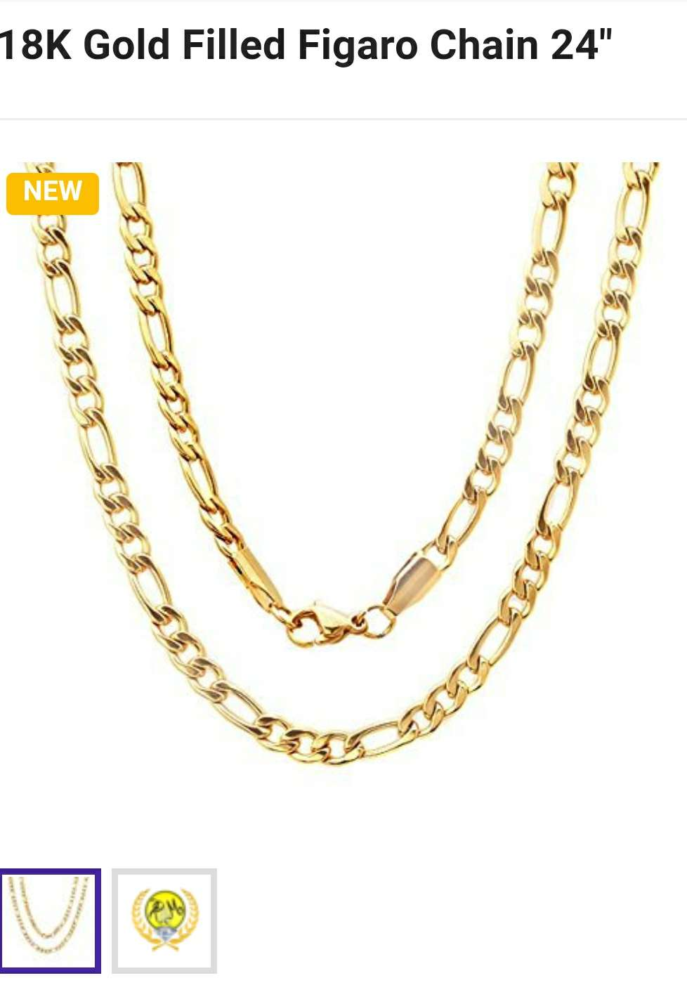 Photo Brand new 14 karat gold filled men's Fiargo gold chain necklace