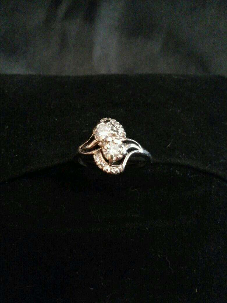 Photo Vintage 14k White Gold and Diamond Infidelity or Forever Us Ring 1.08 Ct. Stunning
