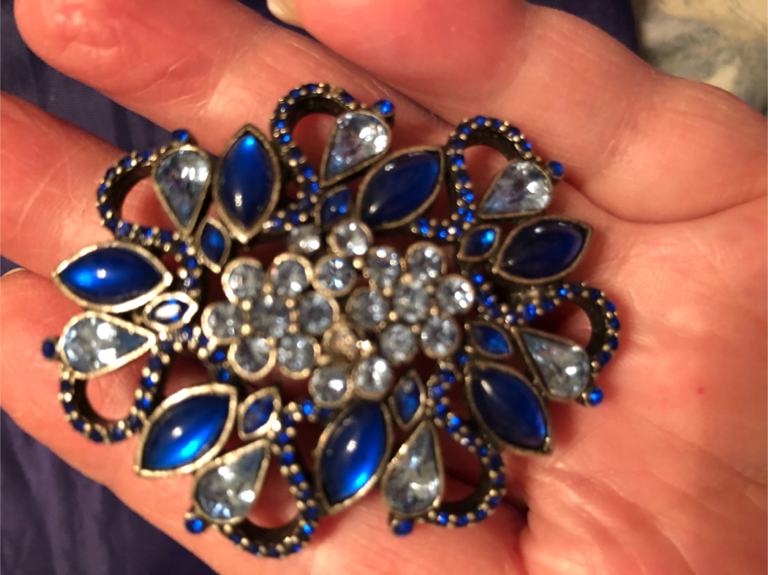 Photo Blue & Clear Crystal Brooch
