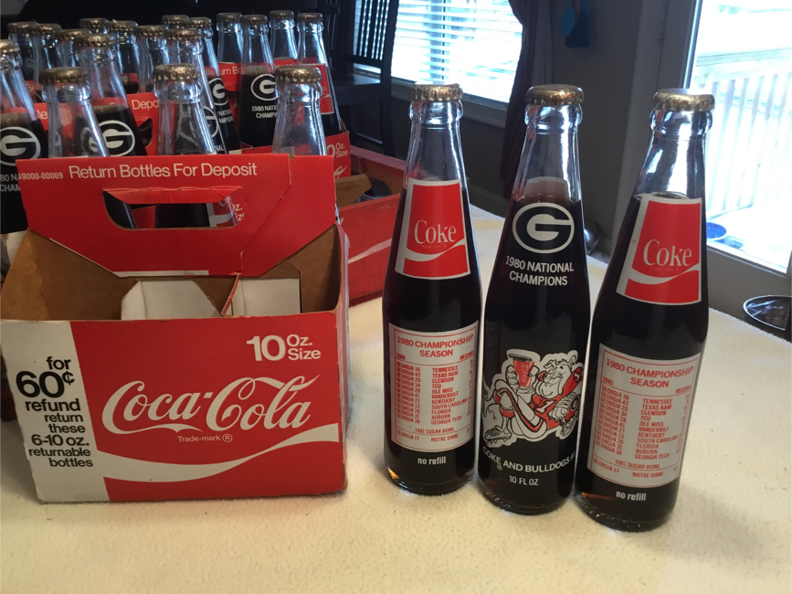 Photo Georgia Bulldogs 1980 National Championship Bottled Coca Cola