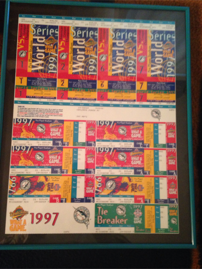 Photo Baseball World Series tickets 1997 Florida Marlins