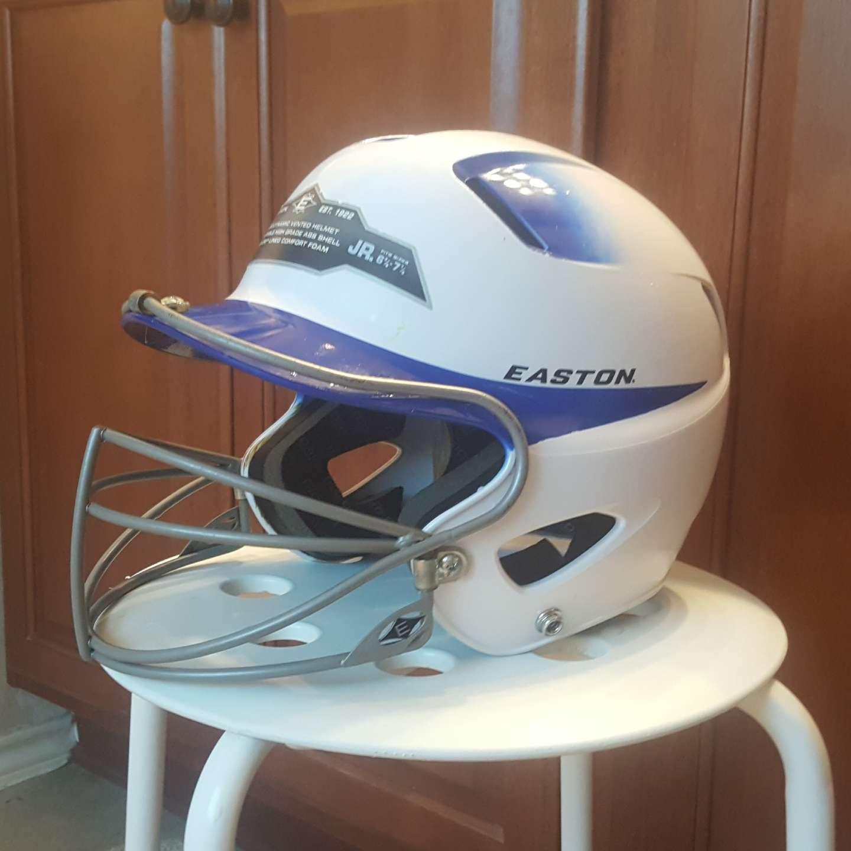 Photo Easton Natural Two-Tone BBSB Batting Helmet W Mask, JR, White/Royal