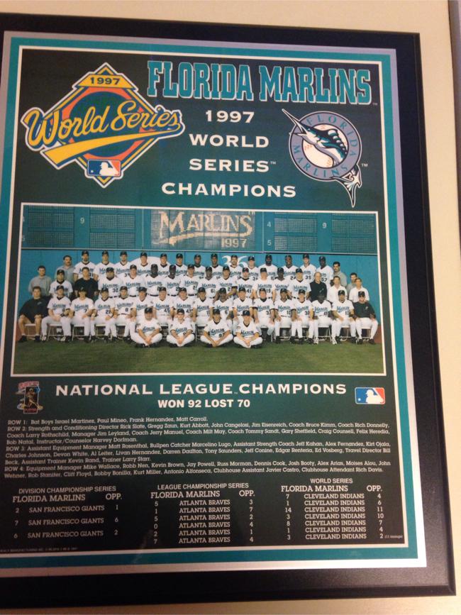 Photo Baseball World Series champions 1997 Florida Marlins plaque