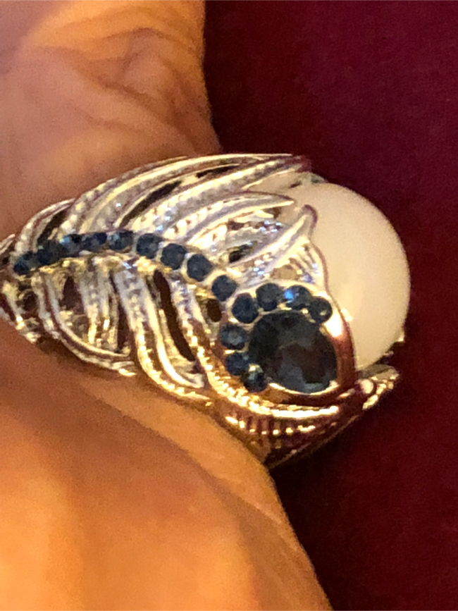 Photo Brand New Size 8 Opal & Sapphires Ring in a Sterling Silver Setting