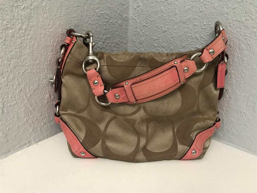 Photo Brown and coral Coach purse handbag