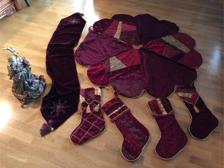 Photo Beaded Christmas Tree skirt, stockings and table runner and matching angel tree topper