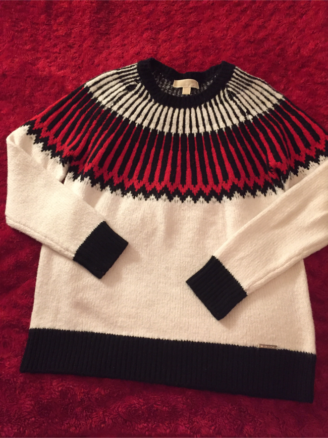 Photo MICHAEL KORS WOMEN SWEATER SIZE M White red and black sweaters women never wore