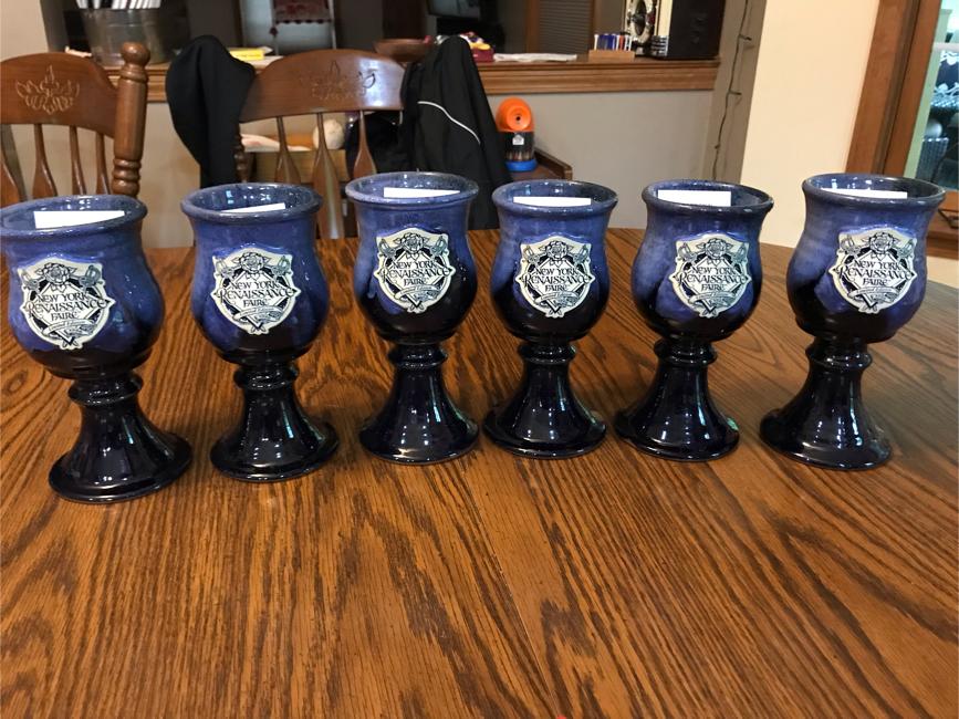 Photo 6 New York Renaissance Faire Hand Thrown Stoneware cobalt blue glazed goblets 1996, numbered, unused