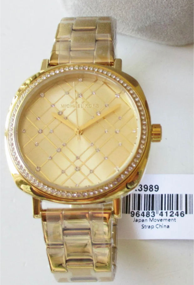 Photo ❤️ LOVELY BRAND NEW MICHAEL KORS NIA CRYSTALS GOLD WOMEN'S MK3989 WATCH
