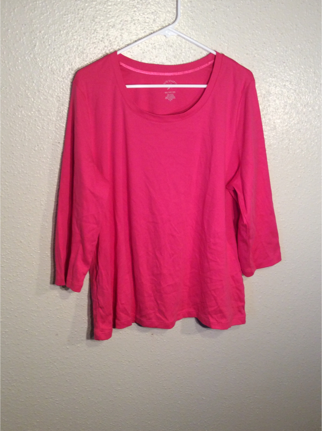 Photo Brand New Rose Fuchsia Women's WHITE STAG TEE Long Sleeve Tee Top T-Shirt Tunic in package - Size 2XL- 1XL