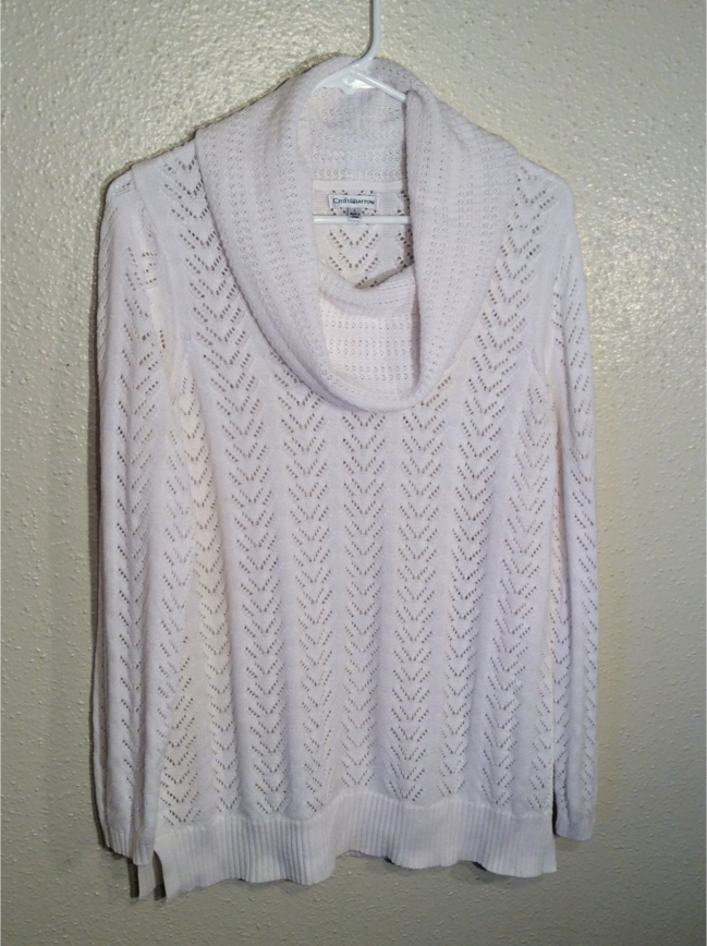 Photo Like New White Women's CROFT & BARROW Knitted Long Sleeve Sweater Tunic in package - Size L