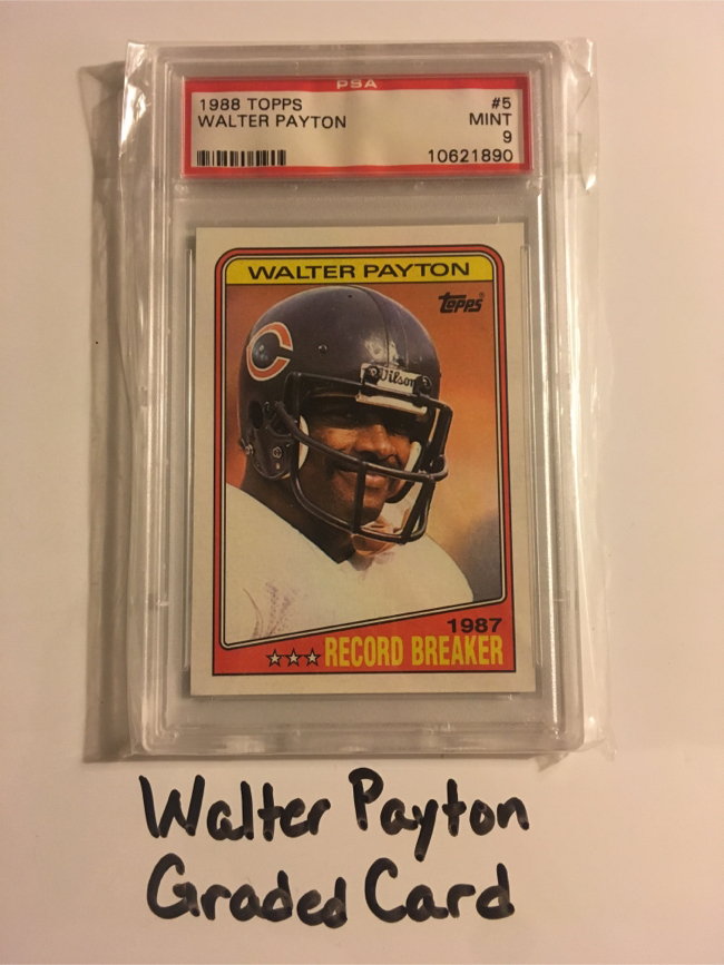 Photo Walter Payton Chicago Bears Hall of Fame RB 1988 PSA Graded Card.