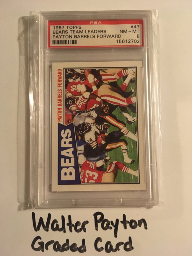 Photo Walter Payton Jackson State Tigers Chicago Bears Hall of Fame RB 1987 Graded Card.