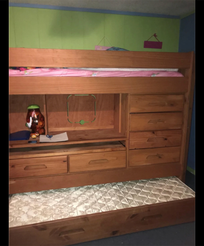 Photo Twin size loft bed with trundle bed and built in desk and drawers