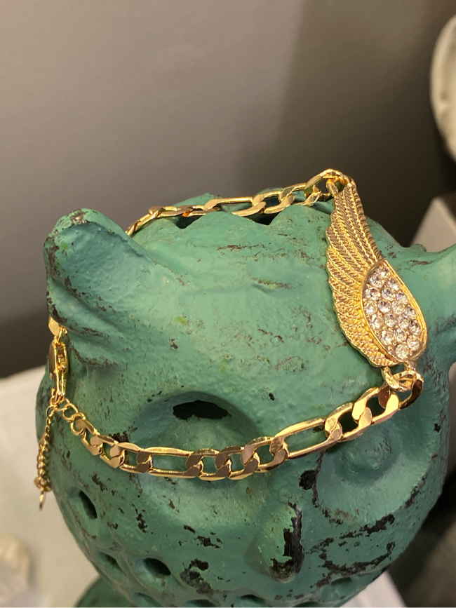 """Photo Angel Feather Gold Plated Bracelet 7"""""""