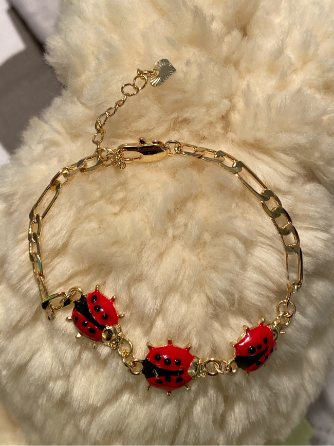 """Photo 14k Gold Plated Lady Bug Bracelet 7"""""""