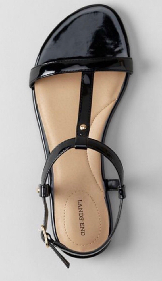 Photo LANDS' END Women's Black Patent Flat Sandals Size: 10. NOW only $10! *see below*