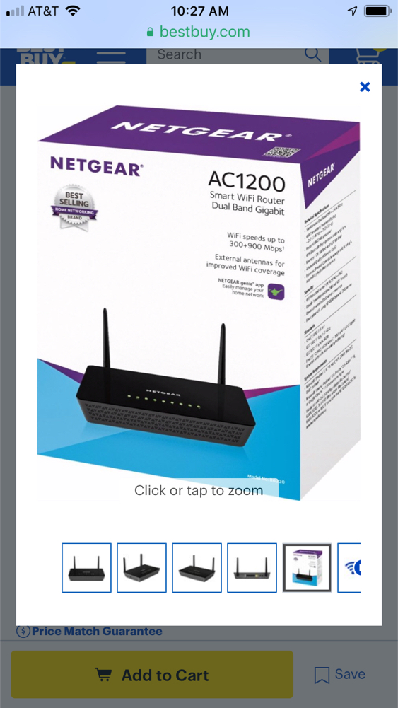 Photo Netgear AC1200 WiFi router black like new no box bought at Best Buy