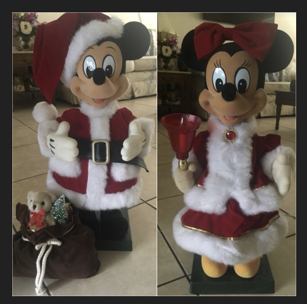 Photo Disney Mickey Mouse And Minnie Mouse 1995 Santa Claus and Mrs. Claus Christmas animatronics