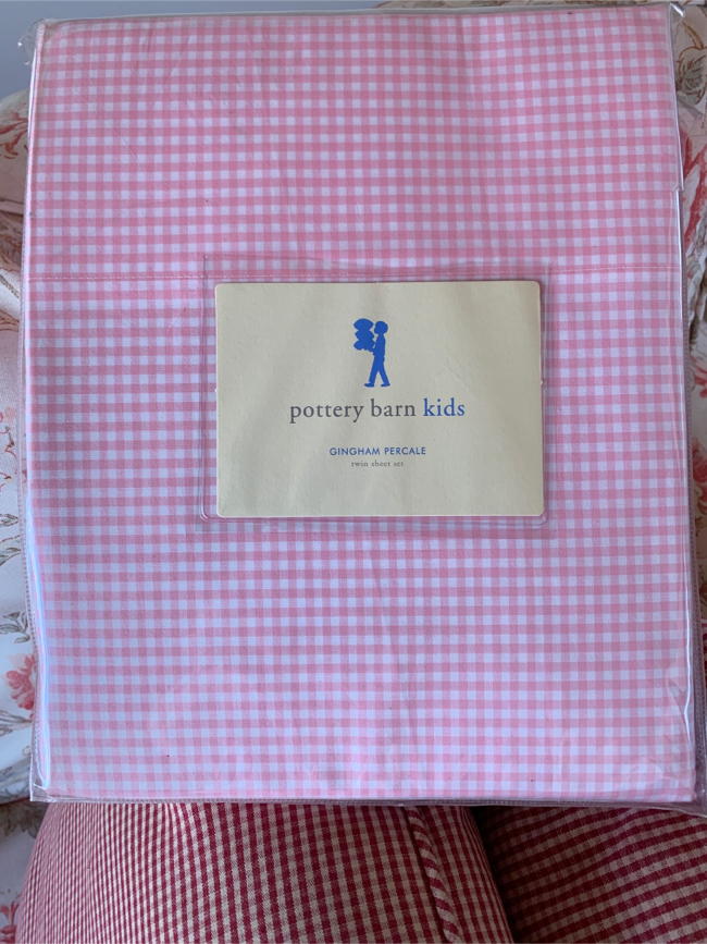 Photo Pottery barn kids. Pink gingham 100 % cotton. Includes one flat sheet,one fitted sheet, and one pillow case. Brand new still in package for half of retail..50.00 firm. Twin sheet set