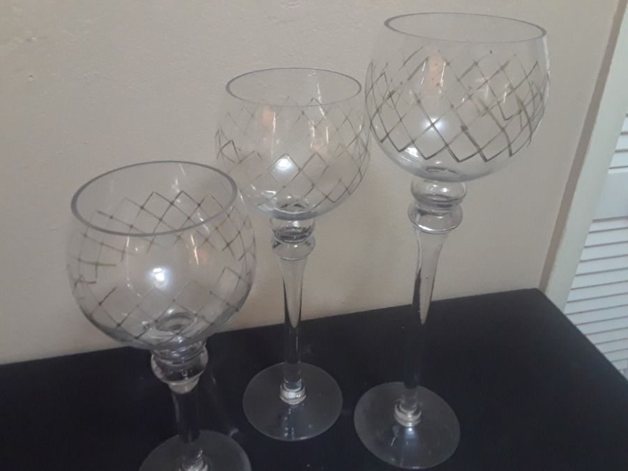 Photo Long Stem 3 Piece Glass Candle Holders