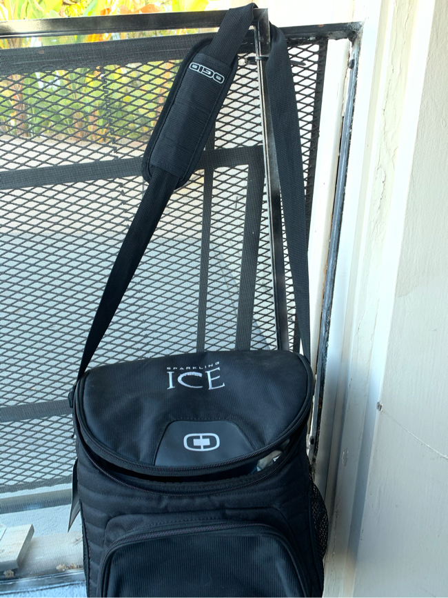 Photo New Ice Cooler. Portable shoulder strap still has tags on