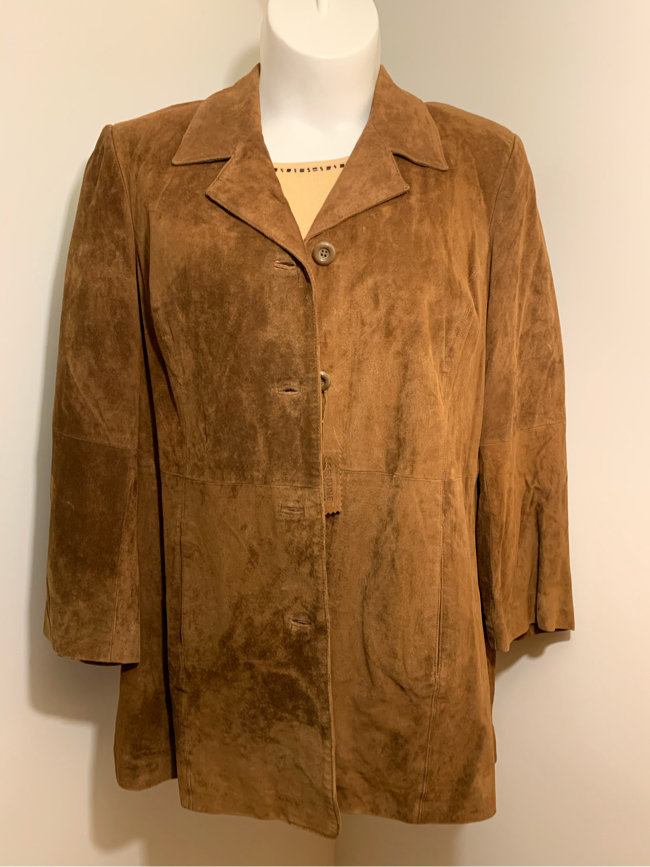 Photo Woman's Tan Leather Suede Coat