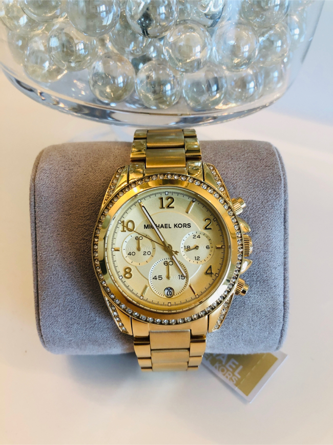 Photo Michael Kors Brand New Women Blair Gold Glitz Watch with Crystals