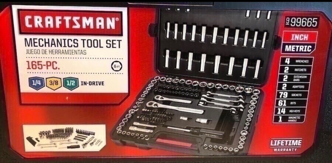 Photo Craftsman 165 piece mechanics tool set(new)