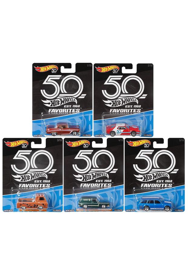 Photo 2018 Hot Wheels 50th Anniversary Complete 10 Car Case (FLF35-956A) 1:64 Scale