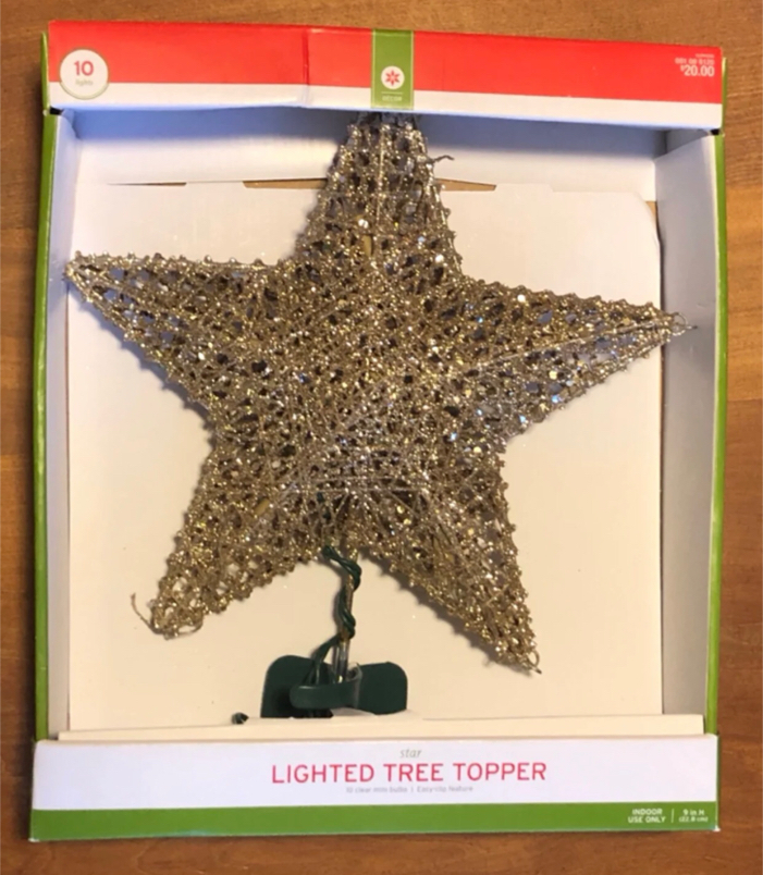 Photo 9 inch Lighted gold glitter star Christmas tree topper NEW IN BOX