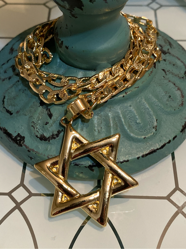"""Photo 14k Gold Plated Star Of David Pendant With Chain Necklace 22"""" 5mm"""