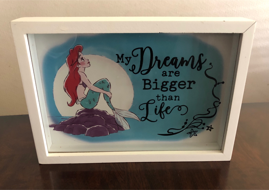 "Photo Disney's The Little Mermaid Glass Box Picture 7"" H, 10"" W & 1 1/2"" Depth"
