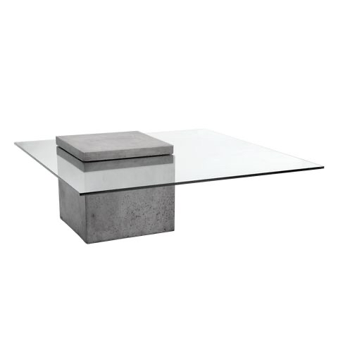 Photo Modern Industrial Concrete Glass Coffee & End Table Set