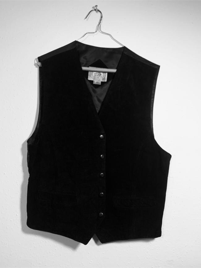 "Photo NEW Mens John Ashford Black Leather Vest Size ""M"" Front 100 % leather and Back 100 % Nylon Hablo Español"