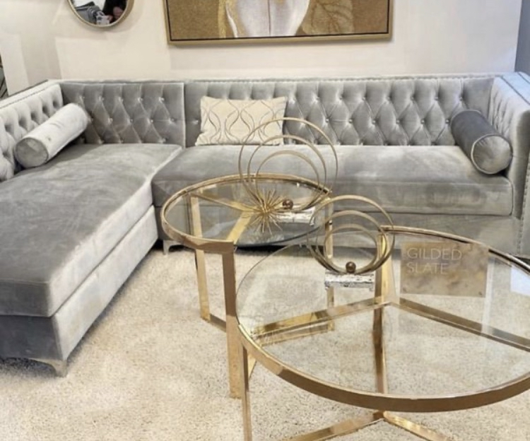 Photo Silver velvet sectional with storage