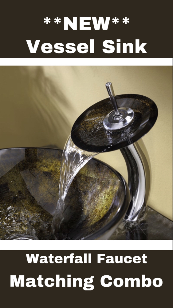 Photo NEW Glass Vessel sink w/ matching waterfall faucet
