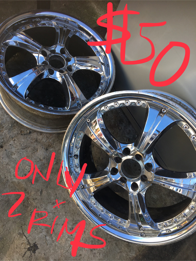 Photo 2 rims no tires for $50! 4 Lugs universal
