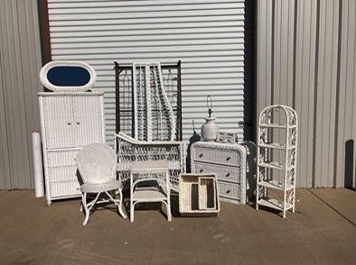 Photo 11 Piece White Wicker Bedroom Furniture Set