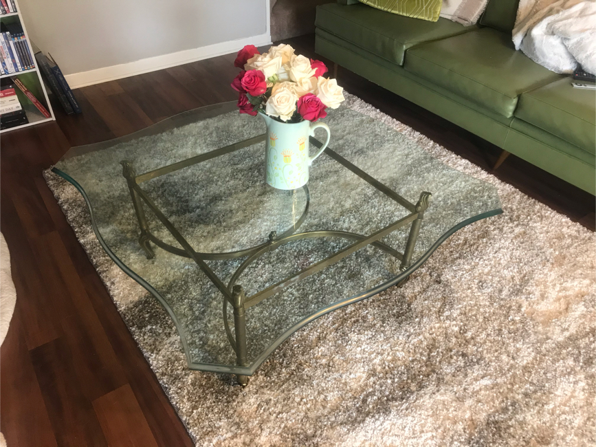 Photo ANTIQUE COFFEE TABLE , Brass , Bevelled Glass, FLAWLESS