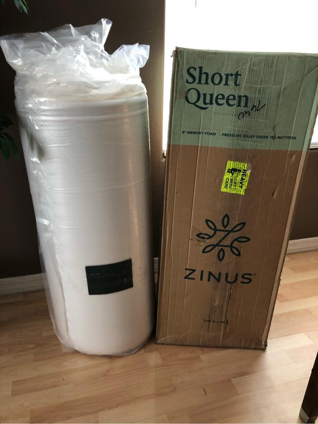 "Photo R/V, trailer camper truck short queen mattress ZINUS 8"" Deluxe Green Tea Memory Foam"