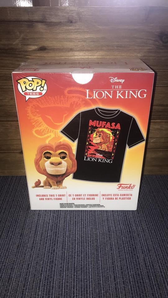 Photo Funko Pop LION KING Flocked Mufasa + T-Shirt Combo (Medium/Sealed)