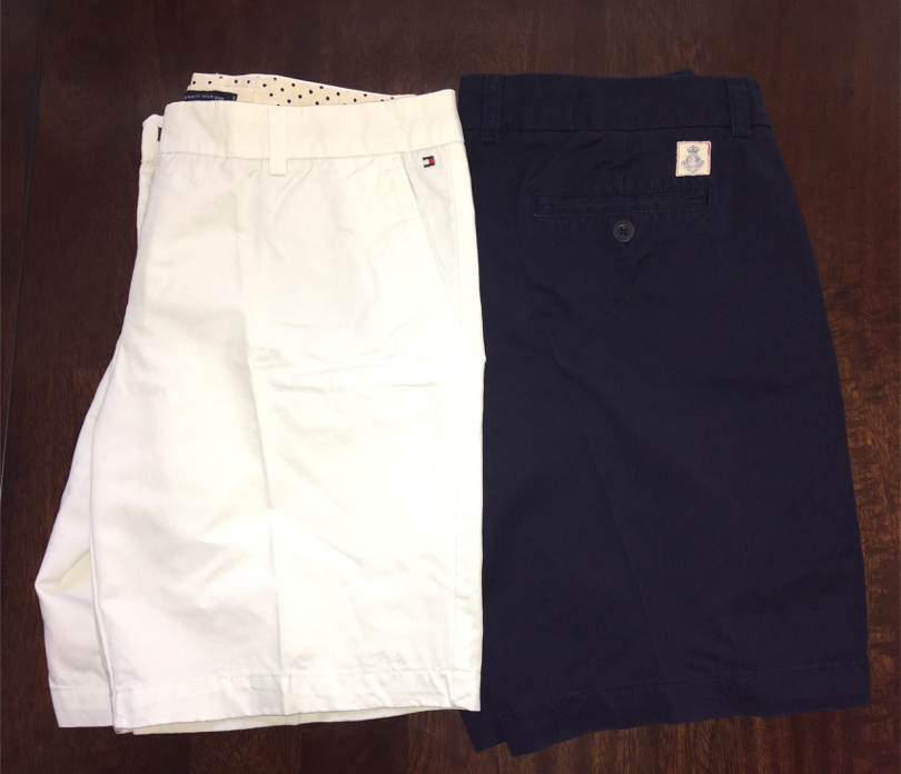 "Photo TWO- Women's 32 "" Waist Tommy Hilfiger Size 6 Navy Blue & White Cotton Shorts"