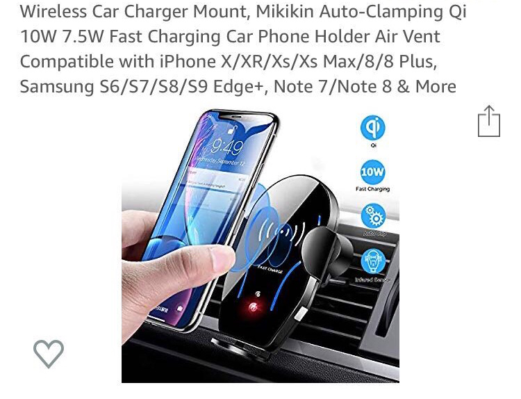 Photo Wireless Car Charger Mount, Mikikin Auto-Clamping Qi 10W 7.5W Fast Charging Car Phone Holder Air Vent Compatible with iPhone X/XR/Xs/Xs Max/8/8 Plus, Samsung S6/S7/S8/S9 Edge+, Note 7/Note 8 & More