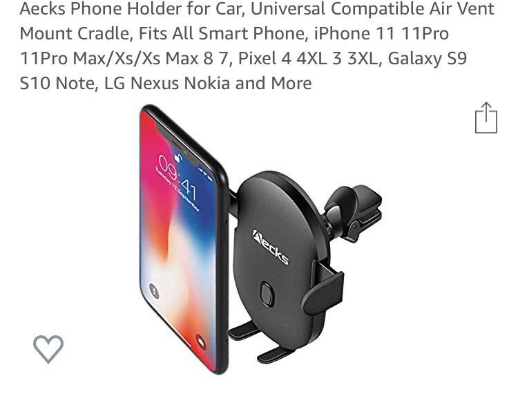 Photo Aecks Phone Holder for Car, Universal Compatible Air Vent Mount Cradle, Fits All Smart Phone, iPhone 11 11Pro 11Pro Max/Xs/Xs Max 8 7, Pixel 4 4XL 3 3XL, Galaxy S9 S10 Note, LG Nexus Nokia and More