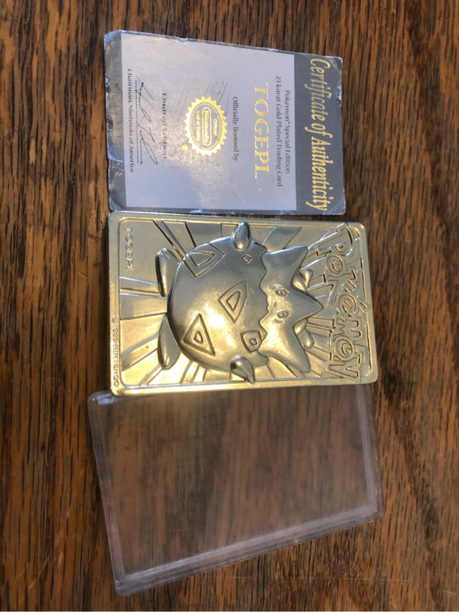 Photo Pokémon Togepi 23K Gold Plated Special Edition Trading Card & Authenticity Certificate