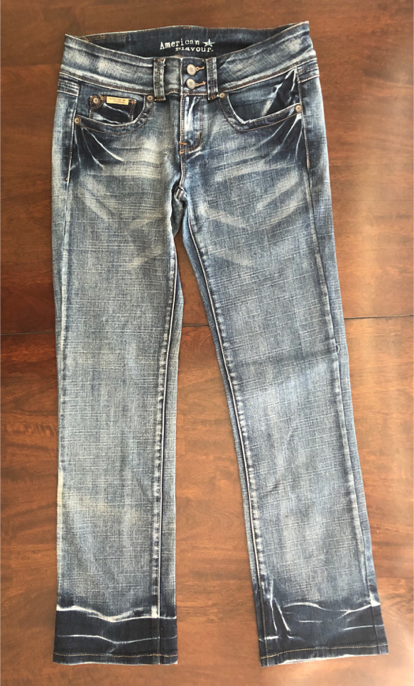 """Photo American Flavour Women's Size 9 Blue Wash Distressed Jeans Stretchy Pants 30 - 32 """" Waist"""