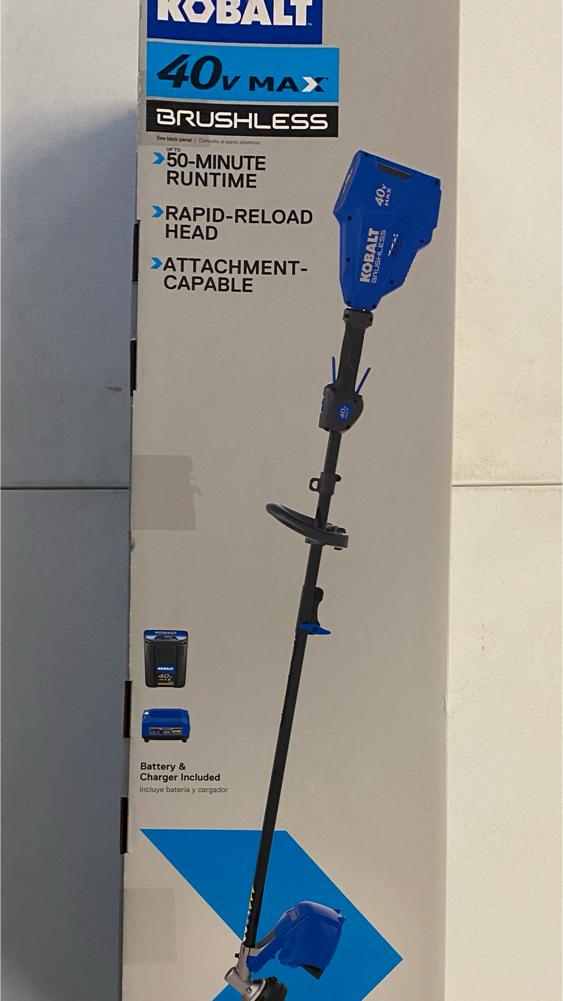 Photo NEW Kobalt 40 volt weed eater / string trimmer, battery & charger