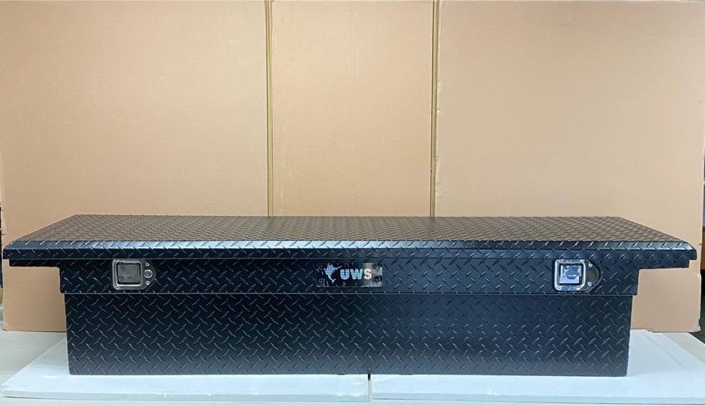 "Photo New UWS 69"" Matte Black Aluminum Low Profile Crossbed Truck Tool Box"